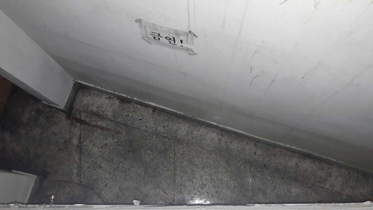 연구관 휴게실 출입문 반대편과 왼쪽(출입문을 등지고 서 있을 때 기준) 벽면 뒤로 좁은 공간이 있는데, 그곳으로 나가는 문이 각각 하나씩 달려 있다. 그 문을 열고 나가면, 시멘트 바닥이 보인다. 그 틈새에는 비만 오면 어디서 들어오는지 물이 고인다. 고인 물은 휴게실로 스며들어서 장판을 축축하게 만든다.