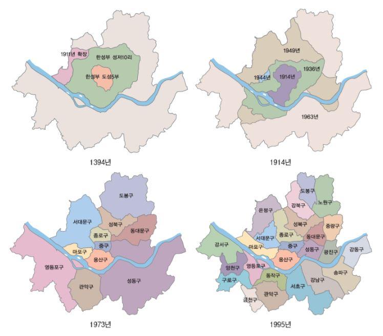 서울시 행정구역 변천 일제강점기부터 1백여년이 흐르는 동안 서울시는 인구의 증가와 함께 면적의 확장을 거듭해 왔다.