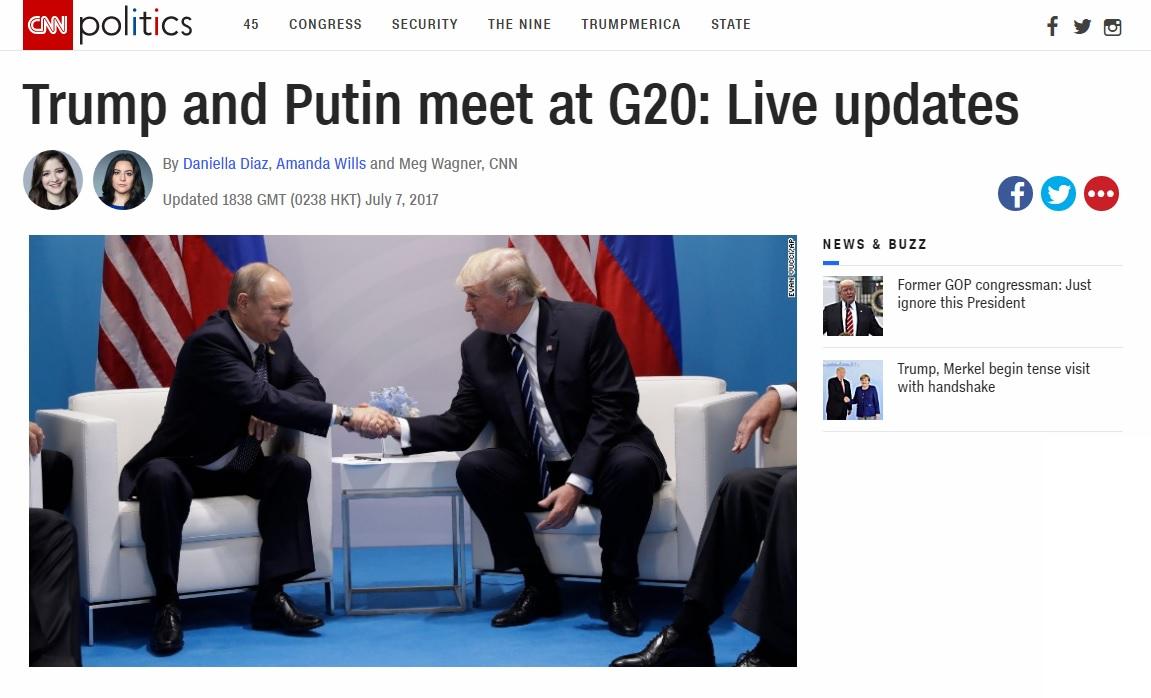 독일 주요 20개국(G20) 정상회의에서 열린 미·러 정상회담을 보도하는 CNN 뉴스 갈무리.