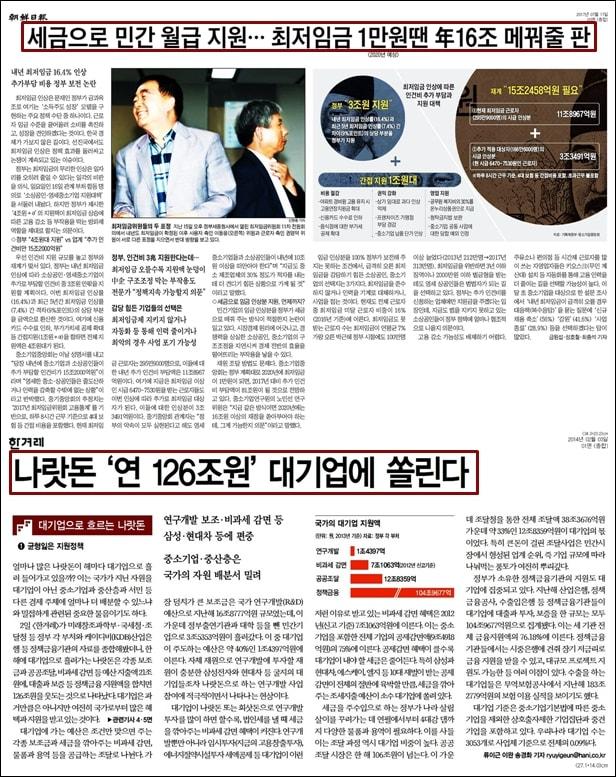 조선일보는 문재인 정부가 발표한 최저임금 지원 대책을 세금으로 민간 월급 지원한다며 비판했다. 2014년 한겨레는 연간 126조원의 세금이 대기업에 지원된다고 보도했다.