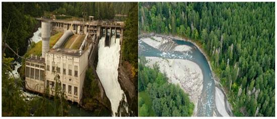 엘와강의 댐 철거 전과 복원 후 모습.
