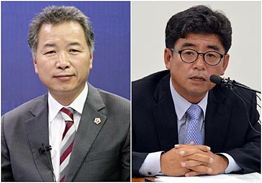 명노희 전 충남도의회 교육의원과과 이준원 전 공주시장(오른쪽)