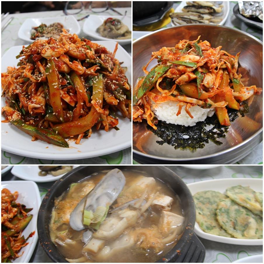맛조개 회무침과 맛조개 비빔밥, 맛조개 된장국이다.