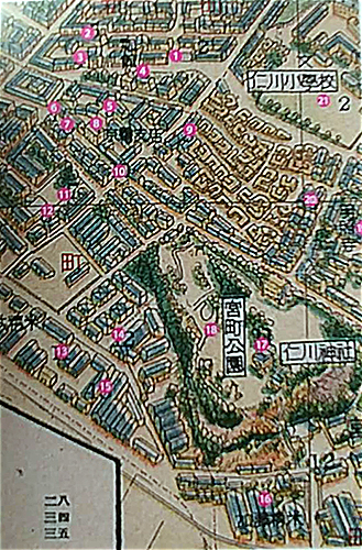 인천 지도 2  각 번호가 무엇을 하는 곳인지 책에서 자세히 설명해 놓았다