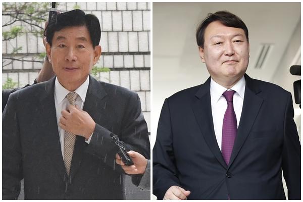 원세훈 전 국정원장(왼쪽)과 윤석열 서울중앙지검장.