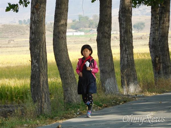 하교하는 초등학생(평안남도 개천군).