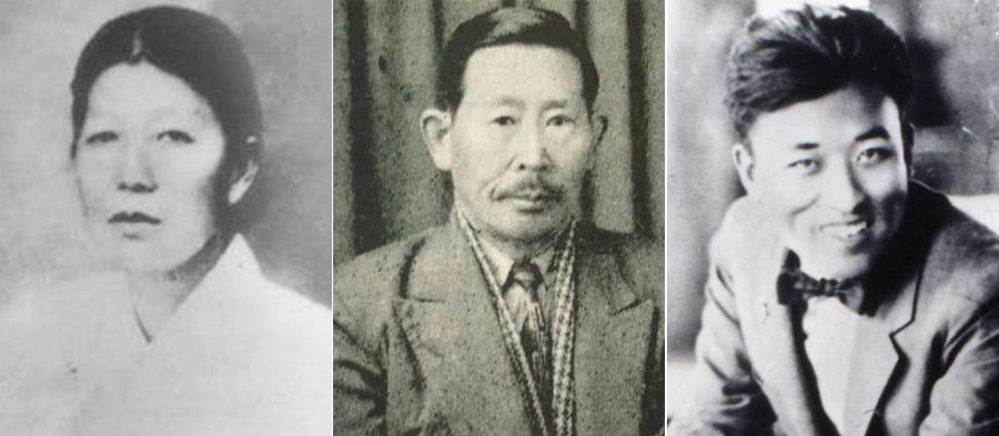 사진 왼쪽부터 남자현 선생, 김용관 선생, 나운규 선생