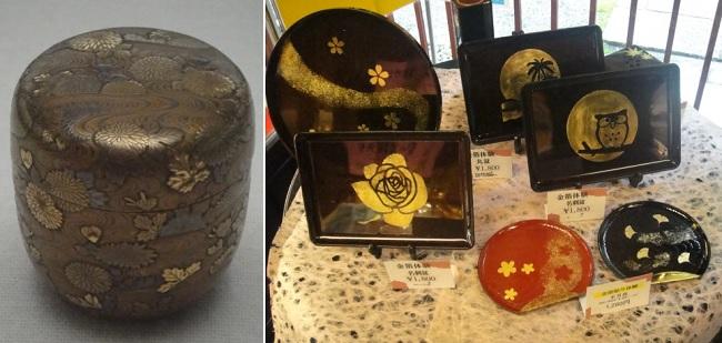 가나자와에서 금가루를 이용하여 만든 공예품입니다. 마키에 공예는 옻의 접착력을 이용하여 만들어낸 무늬입니다.?