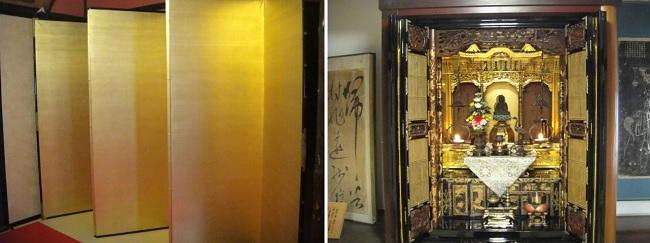 왼쪽 사진은 아무 무늬 없이 금박으로 만든 병풍이고, 오른쪽 사진은 금으로 꾸며놓은 사무라이 집 조상신을 모신 신단입니다.