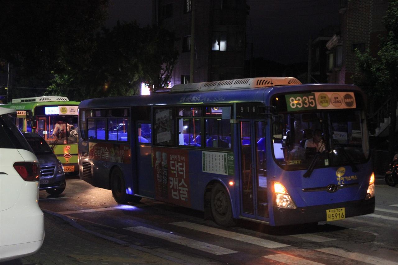 14일 송파상운 철거 문제로 운행 중단 당시 8335번~8337번 버스가 운행되었다.