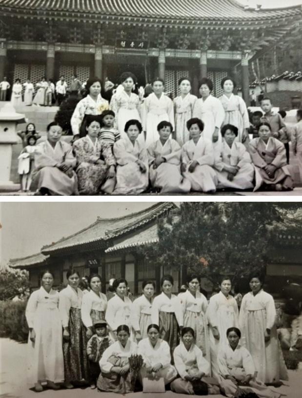 현충사(上:뒤 맨왼쪽 어머니와 나/ 下: 뒷 왼쪽 네번째 어머니, 그 앞이 나)