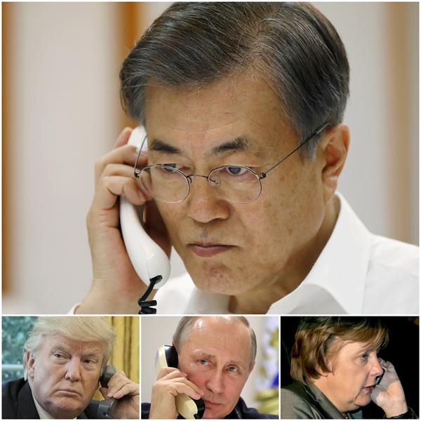 문재인 대통령이 4일 오후 청와대 관저 소회의실에서 앙겔라 메르켈 독일 총리와 전화통화를 하고 있다. 문 대통령은 이날 메르켈 총리와 통화 후에 도널드 트럼프 미국 대통령, 블라디미르 푸틴 러시아 대통령과도 통화했다.