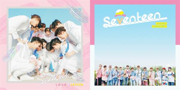 지난해 발매된 세븐틴의 첫 정규 음반 < Love & Letter >(왼쪽)와 리패키지 음반 표지.