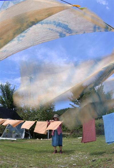 거창 동변리 물드림의 천연쪽 염색.