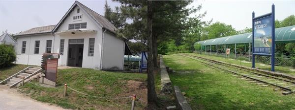 고향역 분위기를 풍기는 월정리역. 왼쪽은 역사, 오른쪽은 역사 뒤편 철로. 강원도 철원군의 민통선 이북에 있다.
