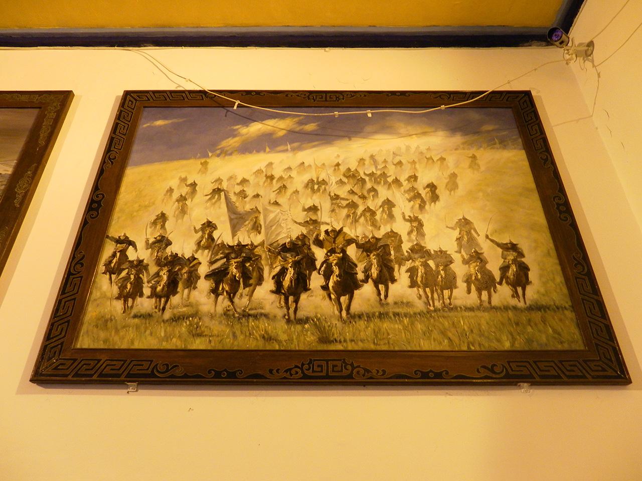 몽골 기마병들. 중국 내몽골자치구 흥안맹 우란하오터시의 칭기즈칸묘(칭기즈칸 사당)에서 찍은 사진.