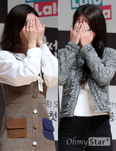 '사서고생' 소진-소유, 예쁜 얼굴 보여주세요! 13일 오후 서울 상암동 JTBC사옥에서 열린 JTBC 디지털 채널 '스튜디오 룰루랄라' 예능 <사서고생> 제작발표회에서 소진과 소유가 동료 연예인들의 짓궂은 말에 얼굴을 가린채 웃고 있다. <사서고생>은 한국에서 가져온 물건을 벨기에에서 팔며 경비를 마련하는 신개념 자금 마련법과 함께 여행지를 즐기는 모습을 담은 자급자족 여행 테크 예능프로그램이다. 14일 목요일 오전 10시 첫 공개.