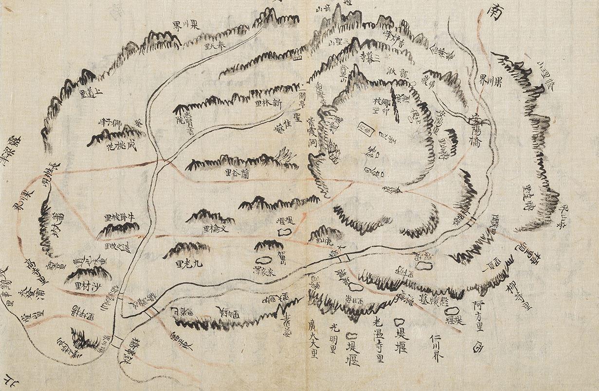 시흥현 지도 규장각 소장 『경기지』(규12178) 4책에 수록된 시흥현의 그림식 지도로 제작연도는 1832년에서 1833년 사이이다. 규장각 제공