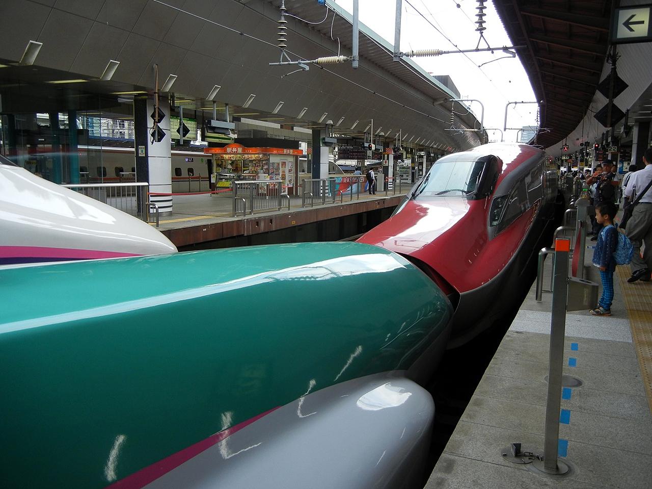 도쿄 역 고마치호 도쿄 역에서 병결되어 있는 아키타 신칸센 고마치호와 도호쿠 신칸센 하야부사호