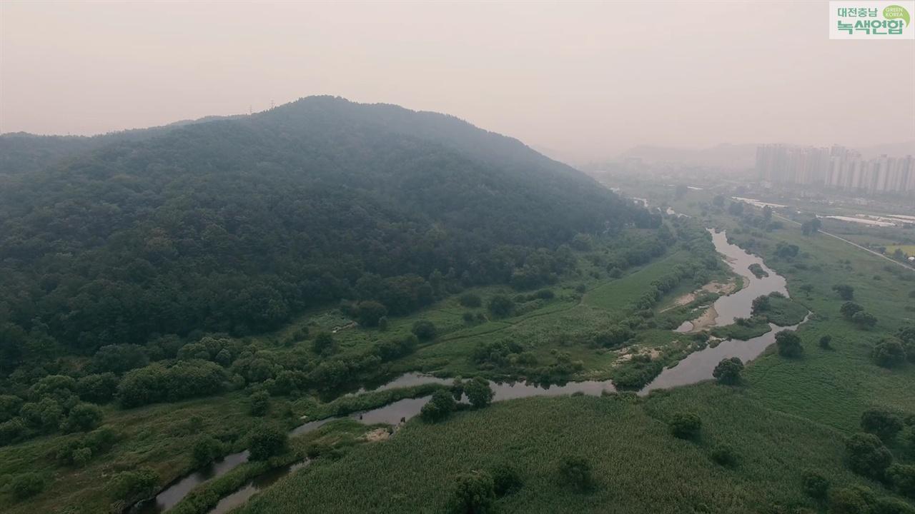대전의 생태섬  개발예정지 주변인 갑천 자연하천구간과 월평공원