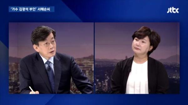 JTBC <뉴스룸>에 출연한 서해순씨의 인터뷰 장면. 많은 시청자의 기대를 모았지만, 제대로 해소된 의혹은 없었다.