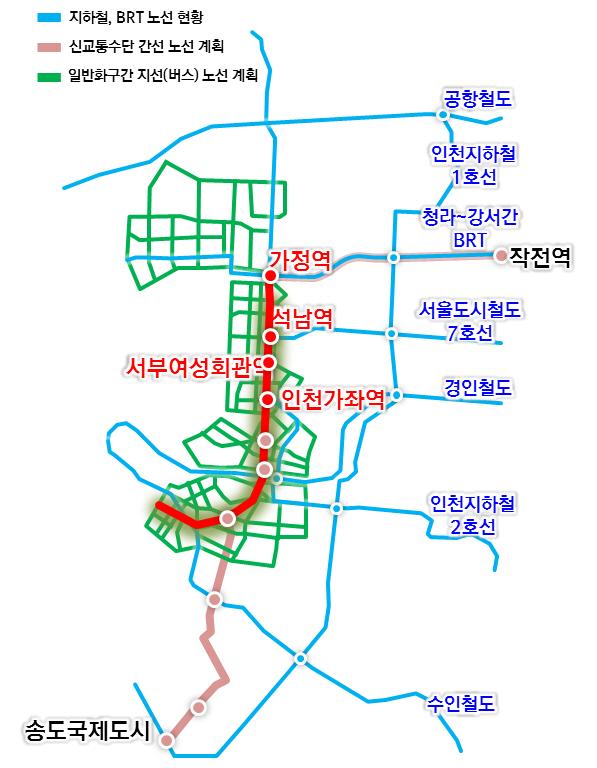 경인고속도로 일반화 및 주변지역 개발 기본구성 경인고속도로 일반화와 함께 주변 교통체계 역시 기존 자동차 중심에서 대중교통 중심으로 변화를 맞을 전망이다. 사진은 일반화 후 교통체계도.