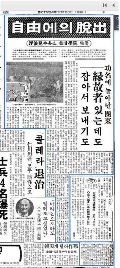 1964년 10월 1일자 경향신문 선감학원 관련기사. 선감학원생들이 자유를 찾아 집단탈출을 감행했다는 내용. '연고자가 있는데도 잡아서 보내기도'라는 부제가 눈에띈다.
