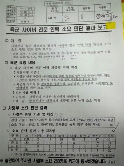 김해영 국회의원이 밝힌 '육군 사이버 전문 인력 소요 판단 결과 보고' 자료..