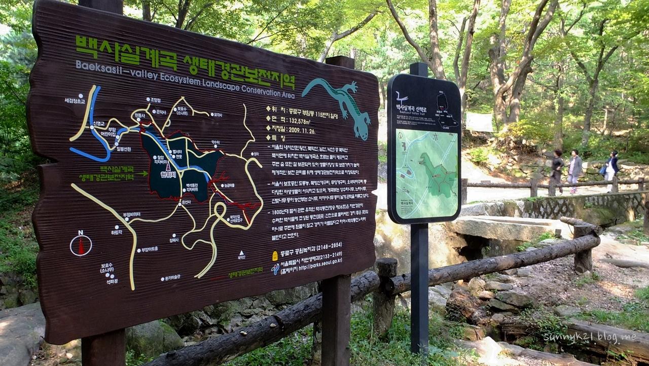서울시 생태경관보전지역으로 보호를 받고 있는 백사실계곡.