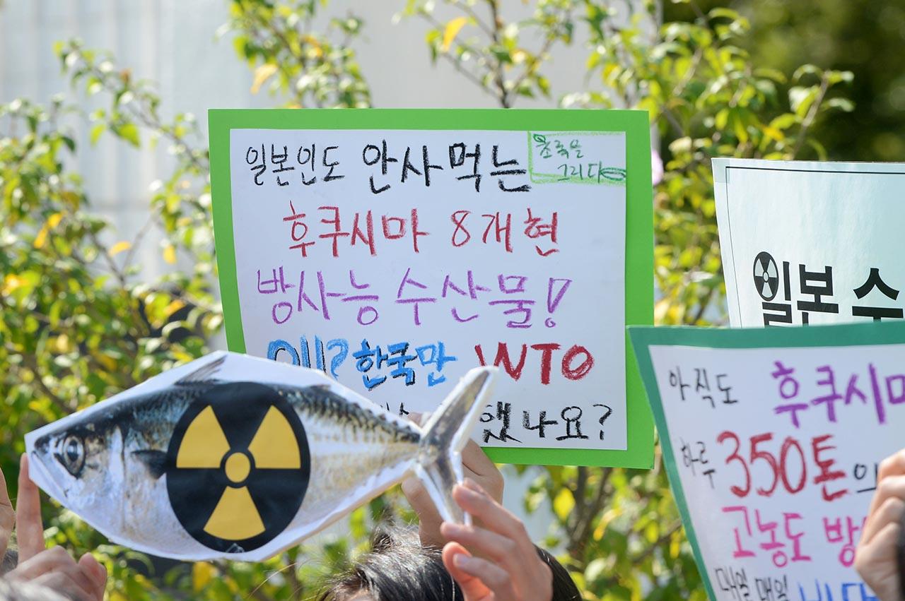 """시민방사능감시센터,서울방사능안전급식연대 등 환경단체 회원들이 28일 오전 서울 종로구 정부서울청사 정문앞에서 기자회견을 열고 """"일본산 수산물 수입제한 조치와 관련해 진행중인 세계무역기구 (WTO)분쟁의 결과가 패소할것이라는 전망이 짙어지고 있다""""며 정부의 긴급한 대책을 촉구하고 있다."""