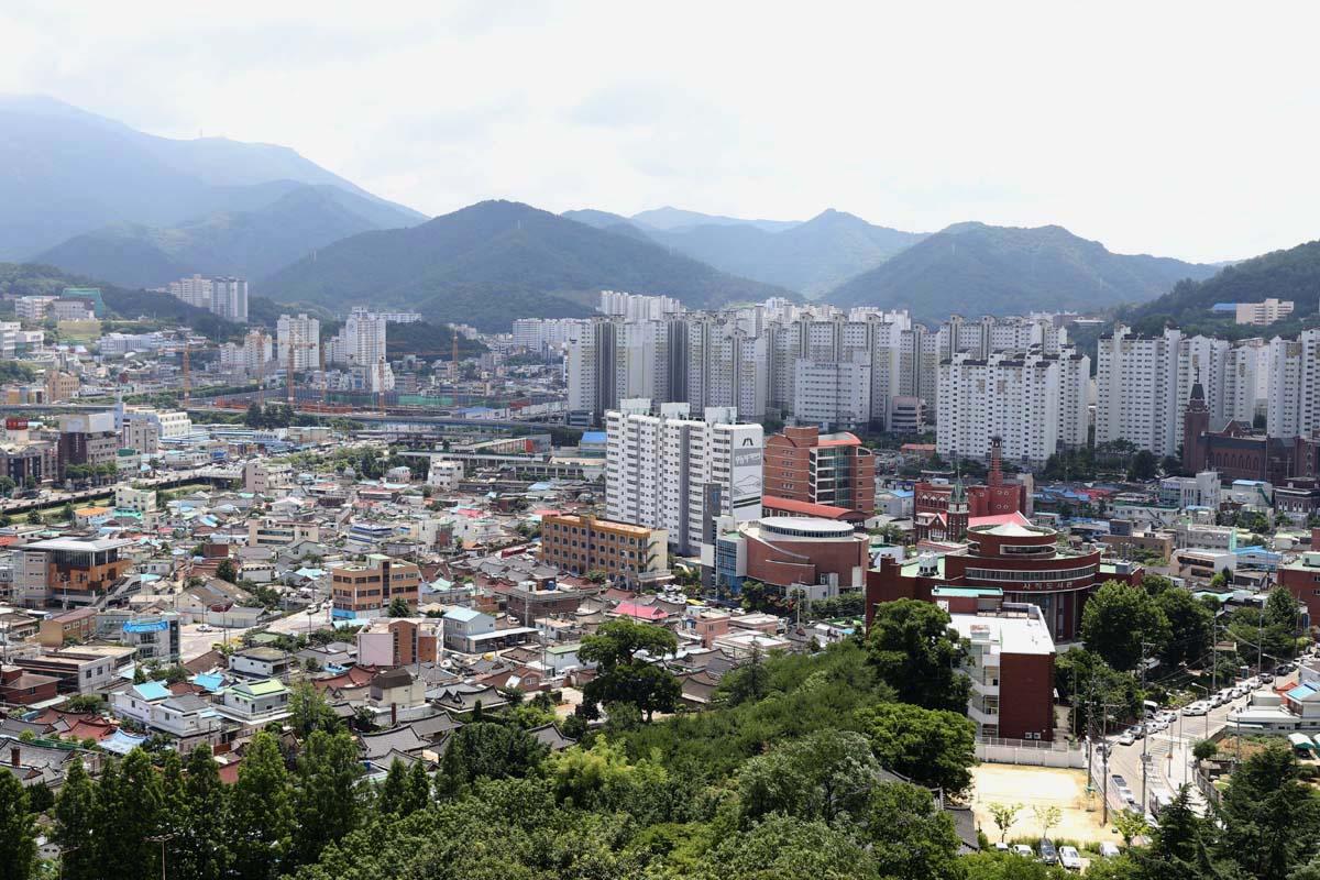 광주 양림동 전경. 광주타워에서 내려다 본 양림동과 무등산 풍경이다.