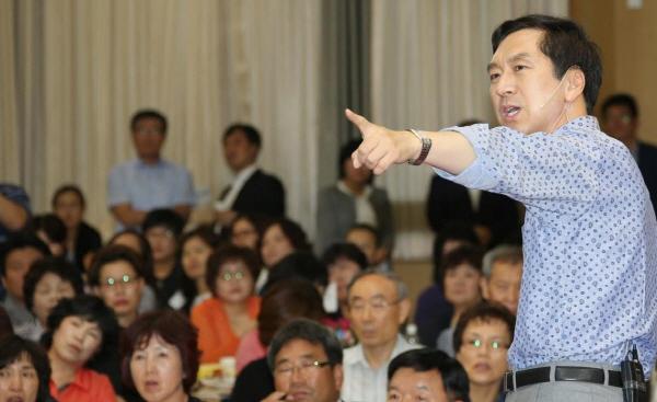 김기현 울산시장이 시민과의 대화를 진행하고 있다. 그는 재선에 강한 의지를 보이고 있다.