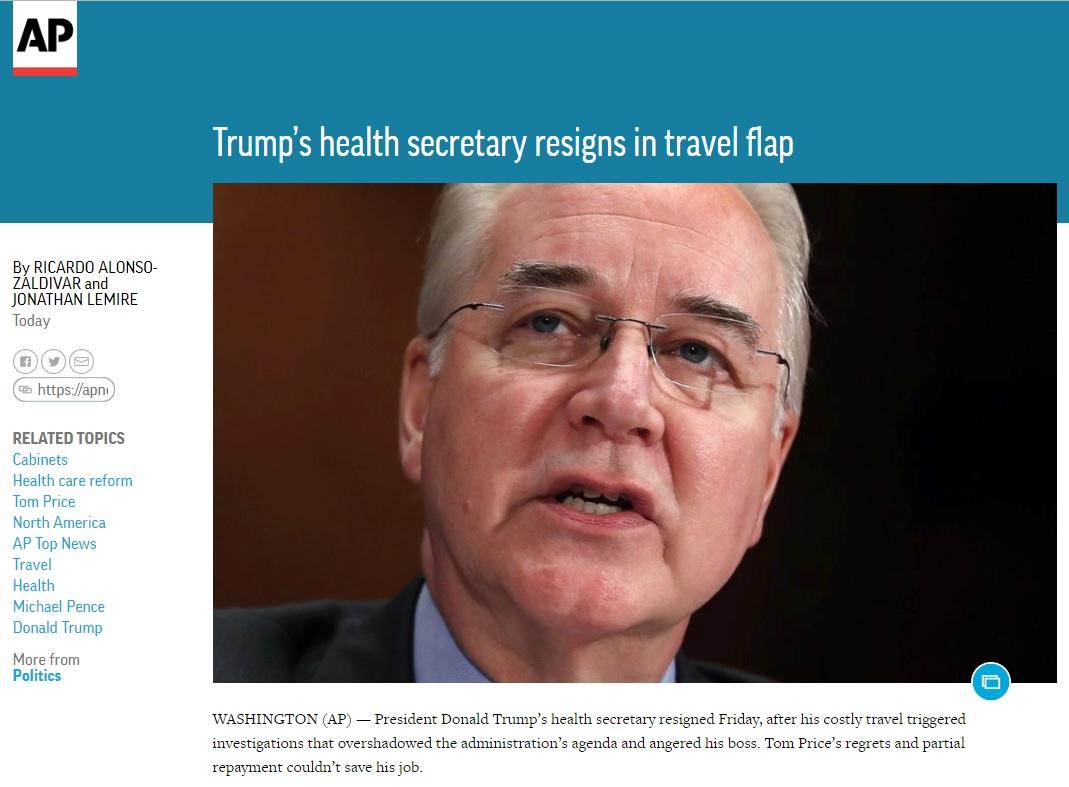 톰 프라이스 미국 보건장관의 사퇴를 보도하는 AP 뉴스 갈무리.
