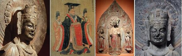 양끝은 매미 관장식 불상이고, 왼쪽은 중국 황제도권에 나오는 관식 그림이고, 오른쪽은 525년에 만들었다고 새겨진 석조삼존입상(중국 산동성)입니다.
