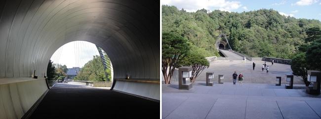 미호뮤지엄 터널에서 본 전시실 입구와 전시실 입구에서 내려다본 계단과 앞마당입니다.?