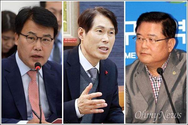 내년 지방선거에서 자유한국당 대구시장 후보로 거론되고 있는 이재만 최고위원과 이진훈 수성구청장, 우동기 대구시교육감.