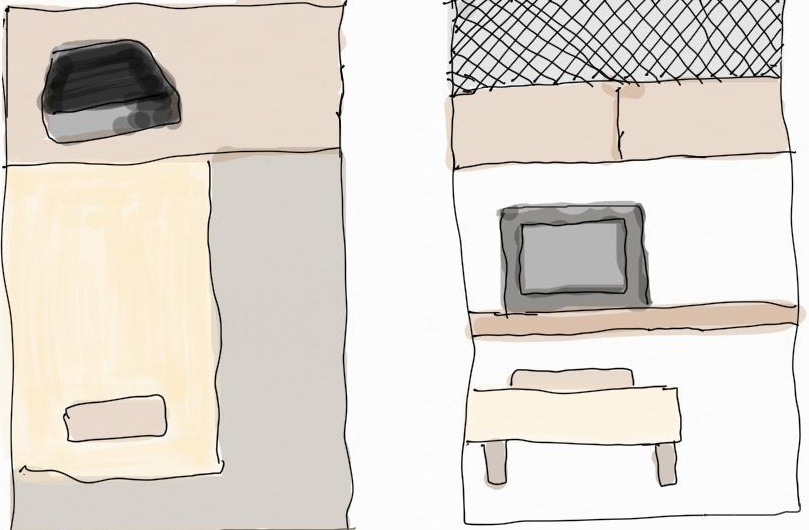 함께 방문한 의대생이 그린 쪽방의 대략적인 구조. 매우 협소하고, 창문조차 없는 곳이 많다. 창문이 있는 방은 월세를 더 올려 받는다고 한다.