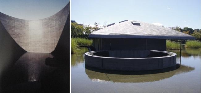 차실 입구에서 물방울 소리를 들을 수 있도록 설치한 시설과 바깥 모습입니다.