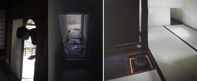 차실에 들어가기 위한 낮고 좁은 문을 나카쿠구리라고 합니다. 차실 나카쿠구리(中?)로 들어가는 모습과 사가와 미술관 차실에 마련된 나카쿠구리 모습입니다.