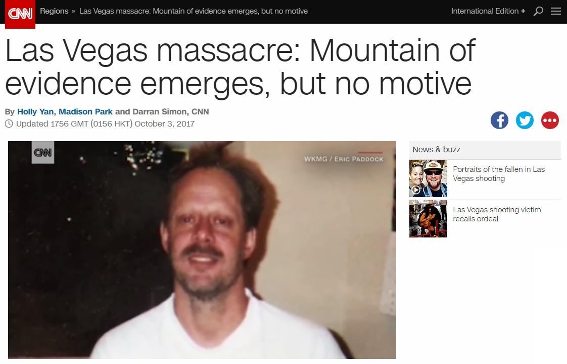 미국 라스베이거스 총기 난사범 스티븐 패덕을 보도하는 CNN 뉴스 갈무리.