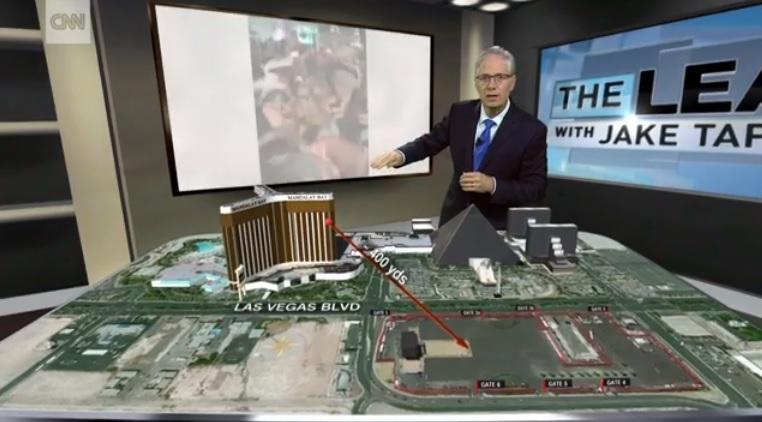 미국 라스베이거스 총기 난사 상황을 보도하는 CNN 뉴스 갈무리.
