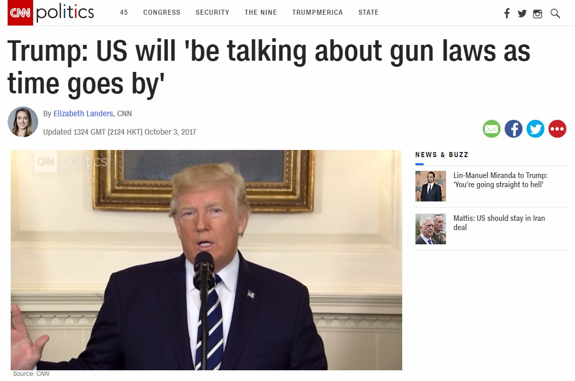 도널드 트럼프 미국 대통령의 총기규제 관련 입장을 보도하는 CNN 뉴스 갈무리.