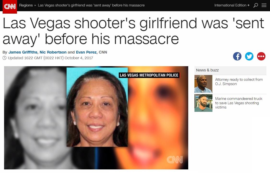 미국 라스베이거스 총격범 스티븐 패덕의 동거녀 조사를 보도하는 CNN 뉴스 갈무리.