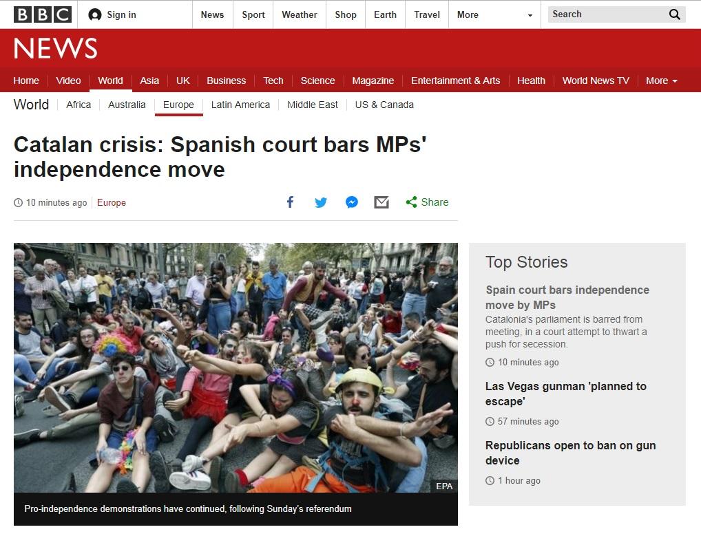스페인 법원의 카탈루냐 자치의회 중단 명령을 보도하는 BBC 뉴스 갈무리.
