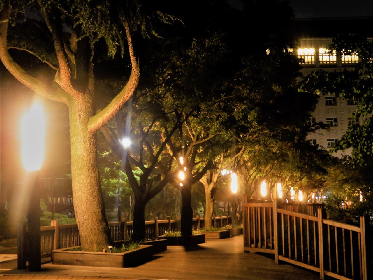 신축 인문사회대학 앞의 모습입니다. 평소에는 학생들로 복잡한 길이지만 밤이 되면 비교적 한산해집니다. 늦은 시간까지 공부하고 귀가하는 학생들이 가끔 보이는 정도랄까요.
