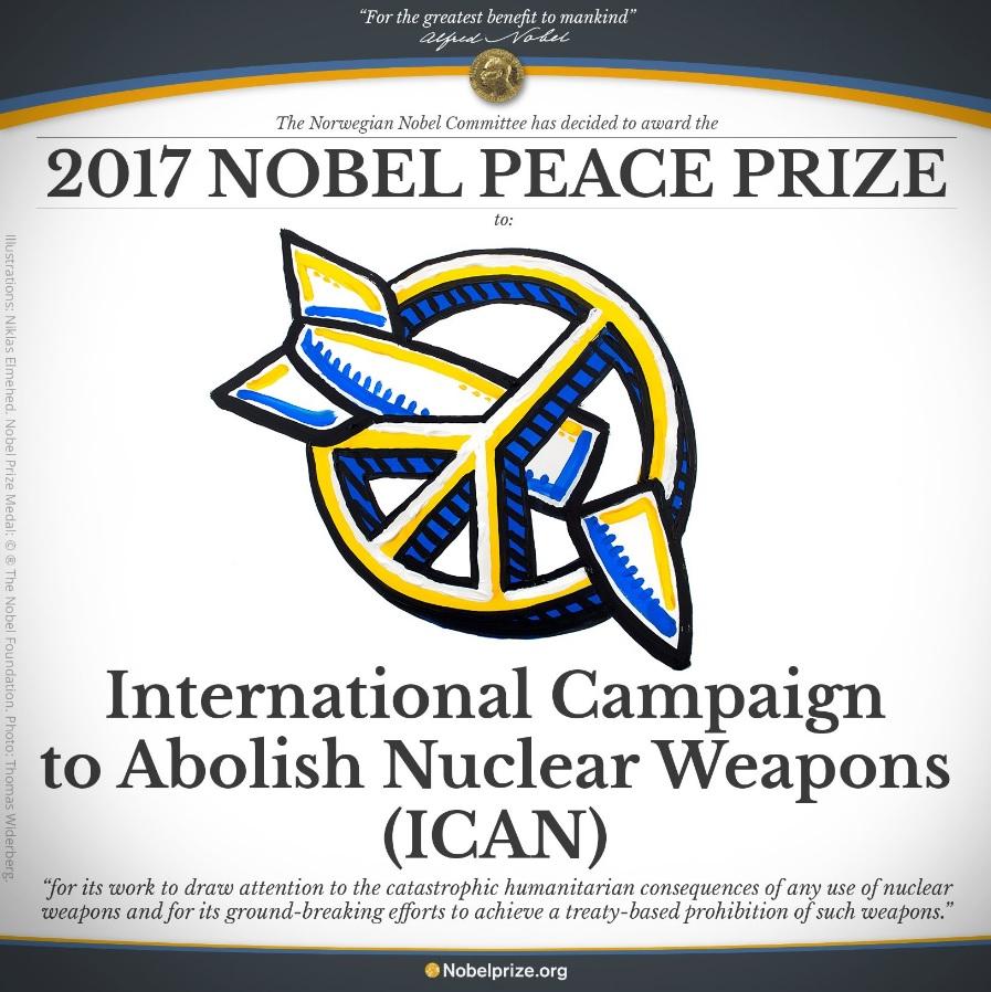 국제핵무기폐기운동(ICAN)의 노벨평화상 수상을 발표하는 노벨위원회 홈페이지 갈무리.