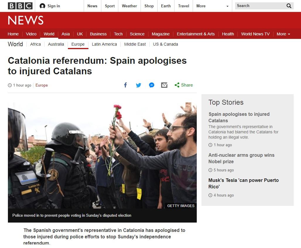 스페인 정부의 카탈루냐 주민투표 과격 진압 사과를 보도하는 BBC 뉴스 갈무리.