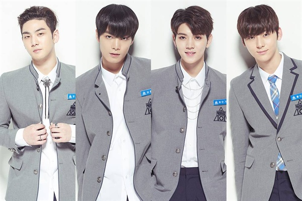 뉴이스트 멤버들의 <프로듀스 101> 출연 당시 모습.  왼쪽부터 강동호, 김종현, 최민기, 황민현.