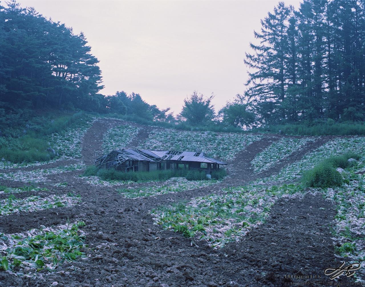 새벽, 발구덕마을의 밭 (67ii/Pro160NS)수확물을 잠시 두는 곳을 이용했음직한 구조물이, 경사진 밭 한 가운데에 위치해있다.