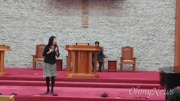 2015년 10월 18일, 평양 봉수교회에서 교우들에게 마음을 전하며.